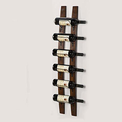 CDXZRZYH Estante montado en la pared del vino de madera sólida, estante del armario del almacenamiento, estante de la decoración del restaurante de la sala de la despensa de la sala de estar, 6 botell