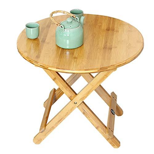 HJCA klaptafel eenvoudig; klaptafel rond draagbaar van bamboe eetkamertafel eenvoudig en draagbaar (afmetingen: 70 x 65 cm) campingtafel buiten