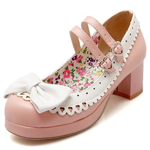 Zapatos de tacón medio de encaje para mujer, con correa al tobillo,...
