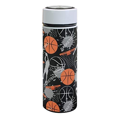 Basketball Game Player Sport Vakuum-isolierte Edelstahl-Wasserflasche, Balck Ball Doppelwandige Thermos Kaffeetassen Sport Reisen Wandern Outdoor Becher für heiße und kalte Getränke