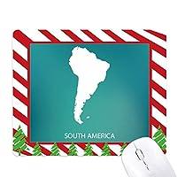 南アメリカ 大陸のシルエットの地図 ゴムクリスマスキャンディマウスパッド