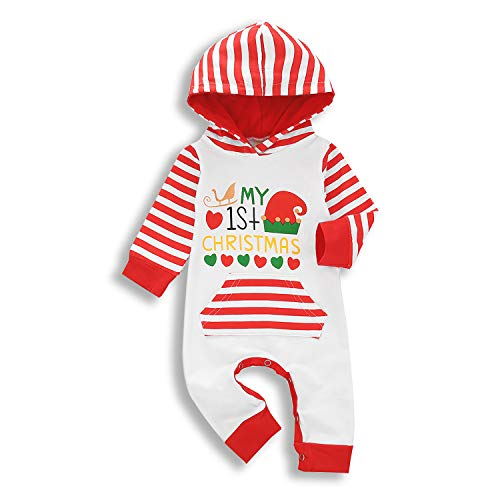 KCSLLCA Baby Boy Girls Christmas Romper My First Christmas Hoodie Jumpsuit Striped Long Sleeve Xmas Pajamas (Christmas Style1, 6-12 Months)