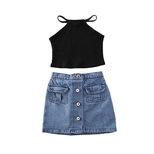 Carolilly - Conjunto de ropa para bebé y niña, cosecha de verano + falda vaquera top sin mangas Negro 12-24 meses