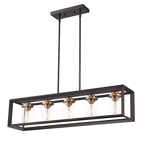 Zeyu 5-Light Kitchen Island Lighting, Modern Linear Pendant...
