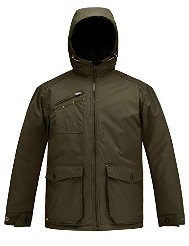 HARD LAND Men's Winter Work Jacket Waterproof Hooded Insulated Coat Parka Outerwear Size M Olive Drab Green