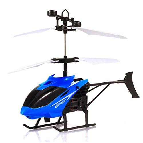 IGEMY RC Infrarot Induktion Mini Hubschrauber Blinklicht Flugzeug Spielzeug (Blau)