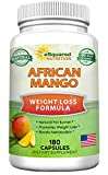 African Mango Extract Cleanse (180 Capsules) Plus Raspberry Ketones & Green Tea Complex, Irvingia Gabonensis Seed Fat Burner, Fast Weight Loss Diet Pills Supplements, Detox Drops Slim Prime