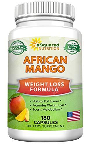 African Mango Extract Cleanse (180 Capsules) Plus Raspberry Ketones & Green Tea Complex, Irvingia Gabonensis Seed Fat Burner, Fast Weight Loss Diet Pills Supplements, Detox Drops Slim Prime