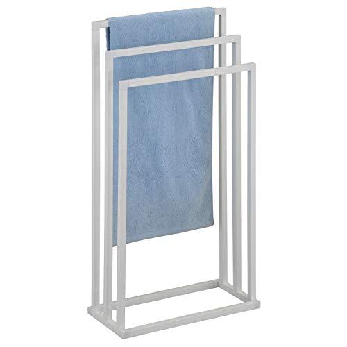 IDIMEX Handtuchhalter KUNO, Handtücher Handtuchständer Badetuchhalter, mit 3 Handtuchstangen, weiß