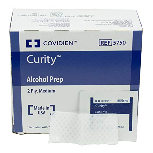 COVIDIEN Curity Alcohol Preps Wipes, Sterile, 2-Ply, Medium, Pack of 200