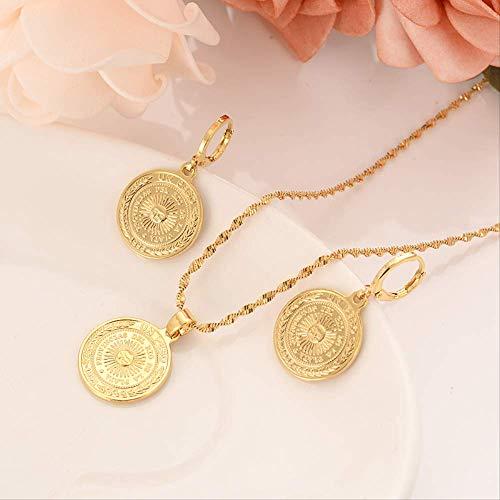 VAWAA Bangrui Uk Uk Peso Münze Gold Farbe Messing, Arabisch/Afrika Schmuck Set Frauen Mädchen Souvenir Geschenk