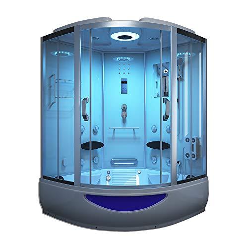 Home Deluxe - Duschtempel mit Regendusche und Handbrause - Exclusive weiß - Maße: 150 x 150 x 220 cm | Dampfsauna, Badewanne, Whirlpool, Dusche