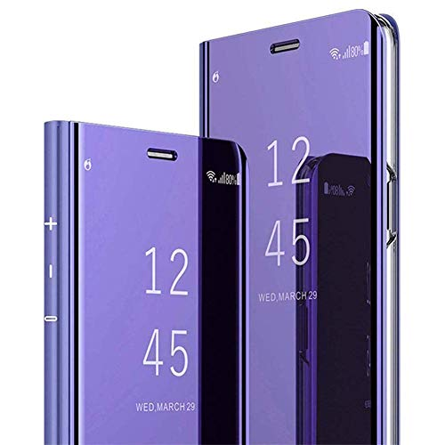 PHEZEN LG V30 Case,LG V30 Plus Case,LG V35 ThinQ Case,Luxury Mirror Makeup Case Clear View Window Plating PU Leather Stand Flip Case Wallet Case Full Body Protective Case for LG V30, Purple
