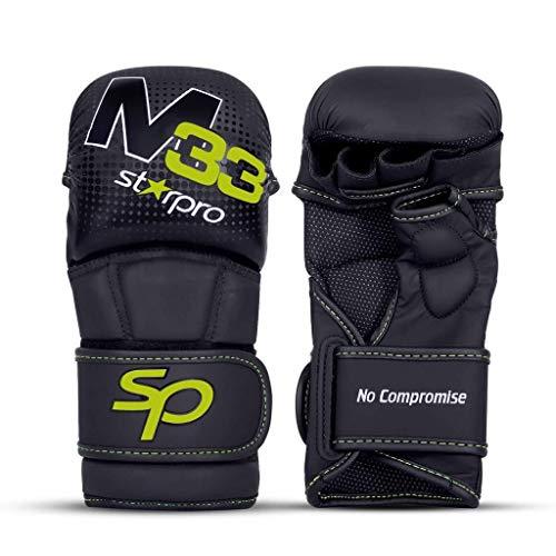 STARPRO MMA Grappling Handschoenen Kickboksen - Vechtsporten Karate Gevechten Training | Sparren Bokszak Kooi Vechten - Mannen & Vrouwen | PU Leer Zwart Groen|