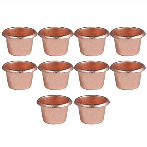 JanJean 10Pcs Metal Candle Cups Grommets Standard Tapered Wax Candles Votive Pegs Tea Light Holder Flat for Candlestick Lamp Candle Making Projects Copper D One Size