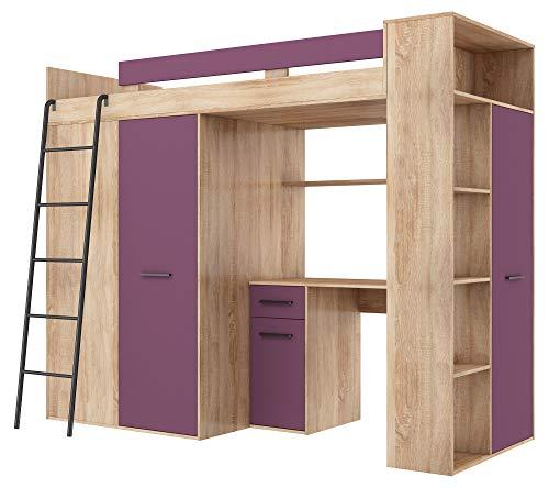 BIM Furniture Hoogslaper stapelbed Verana L bed 190 x 90 cm met trappen kledingkast rek bureau kindermeubelset linkerzijde 90 x 190 cm Sonoma eiken/violet