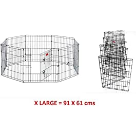 8 Panel Wire Metal Pet Dog Small Animal Cat Exercise Playpen Fence Enclosure Cage Den X Large 36″ Inches