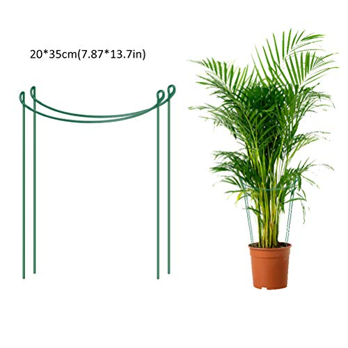 AIJIANG Garden Canes,2 PCS Plant Support Stakes Metal Half Round Garden Plant Support Ring Hoop Plant Support Cages for Potted Plants Tomato Vine