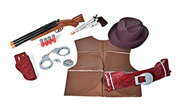Sunny Days Entertainment Deluxe Wild West Play Set – Western Dress Up Costume | 13 Piece Toy Set for Pretend Play | Cowboy or Cowgirl Accessories for Kids – Maxx Action  Model  10833