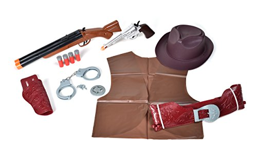 Sunny Days Entertainment Deluxe Wild West Play Set – Western Dress Up Costume   13 Piece Toy Set for Pretend Play   Cowboy or Cowgirl Accessories for Kids – Maxx Action, (Model: 10833)