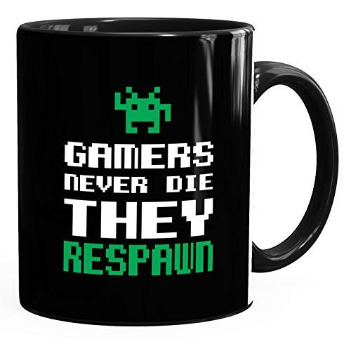 Kaffee-Tasse Gamers never die they respawn Spruch Pixel Zocker 90er 80er Retro MoonWorks® Uni Bunt schwarz unisize