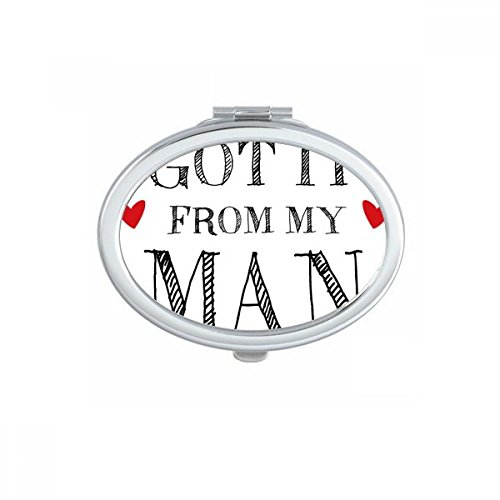 DIYthinker for My Woman Got It De Mon Cadeau Le Jour de la Saint-Valentin Homme Ovale Maquillage Compact Miroir de Poche Miroirs Mignon Petit Cadeau Po Multicolore