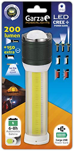 Garza Led-zaklamp van aluminium met draaibare kop voor focus, accu tot 8 uur koud licht, 6500 K aan de zijkant 150 lm en voor 200 lumen. IP44, zwart, S