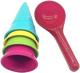 For アイスクリームカップ 砂遊びセット アイスクリームカップ 砂遊びおもちゃ お砂場セット 水遊び 雪遊び お店屋さん 室内 公園 海 風呂 屋外兼用 プールト安全無毒な素材 知育玩具 幼児オモチャ おままごと (1)
