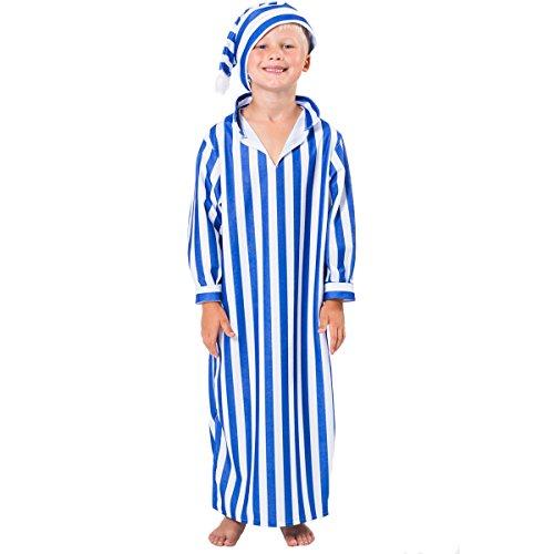 Déguisement pyjama bleu et blanc à rayure pour enfant 128 cm
