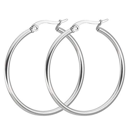 Minimalist Simple Circle Hoop Earrings Stainless Steel Round Big Earrings For Women 60mm Silver Color