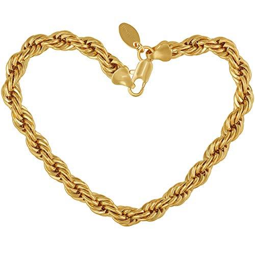 Lifetime Jewelry ロープブレスレット7?mm ダイヤモンドカット ブロンズに24金メッキ プレミアムファッションジュエリー 耐変色 7-9インチ ゴールド
