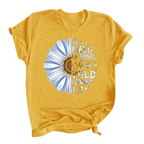 FEISI22 Women's 2020 New Sunflower Graphic Tee T Shirt for Women Summer Graphic Casual Shirts Tee Top Fashion T-Shirt Yellow
