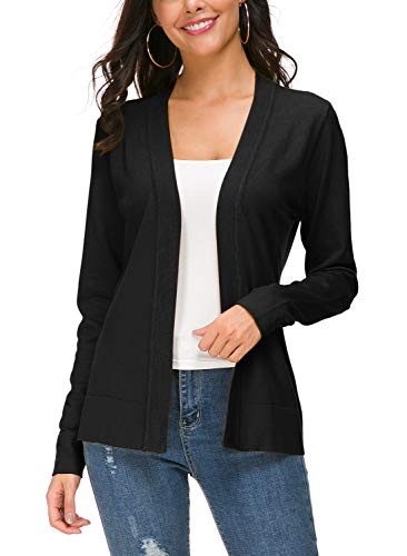 Urban CoCo Women's Long Sleeve Open Front Knit Cardigan Sweater (L, Black)
