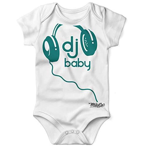 Mikalino Babybody mit Spruch für Jungen Mädchen Unisex Kurzarm DJ Baby | handbedruckt in Deutschland | Handmade with Love, Grösse:68, Farbe:Weiss