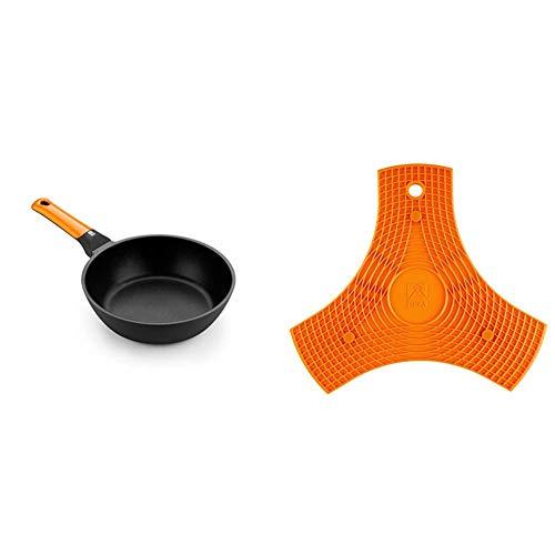 BRA Efficient orange Sartén honda 28 cm, aluminio fundido con antiadherente Platinum Plus + Salvamanteles, Silicona, Naranja, 2 unidades