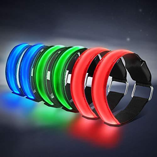 HEAWAA 6 Stück LED Armband, Reflective LED leucht Armbänder Lichtband Kinder Nacht Sicherheits Licht für Laufen Joggen Hundewandern Running und andere Outdoor Sports (Grün+Rot+Blau)