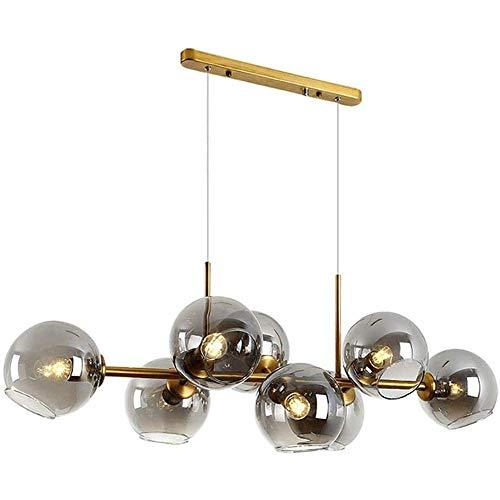 Lampadario a sfera con bolle di vetro, illuminazione industriale moderna in metallo creativo 110 cm, illuminazione a sospensione a 8 luci E27 per sala da pranzo Soggiorno grigio fumo grigio