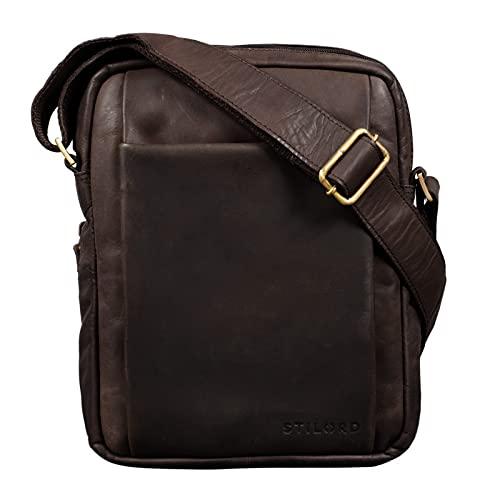 STILORD 'Harry' Borsello Uomo Tracolla in Pelle Borsa Messenger Piccola in Cuoio Vintage Borsa tablet 10.1. pollici, Colore:marrone scuro - pallido