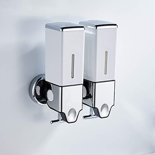Sinrextraonry Dispensador de jabón de pared doble dispensador de jabón montado en la pared, champú acondicionador, loción de gel de ducha bomba de jabón para baño o cocina (blanco, 24 x 21 x 10)