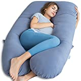 QUEEN ROSE Cooling Pregnancy Pillow, Silky Soft Maternity Pillows for Sleeping, U Shaped Body Pillow for Pregnancy, 55 inch Maternity Pillow for Pregnant Women Support, Blue