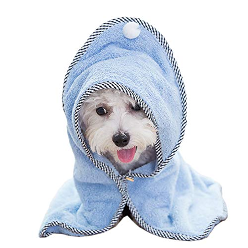 Alfie Pet - Haley Hooded Bath Towel for Small Dogs and Cats - Color: Blue, Size: Small
