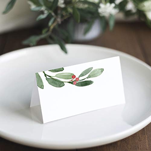 Bliss Collections Greenery Holiday Place Cards for Christmas Party, Wedding or special winter event! Seating Place Cards for Tables, Scored for Easy Folding, 50 Pack, 2 x 3.5 Inches