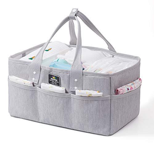 SUNVENO Baby Windel Caddy Organizer, große Baby Organizer und Aufbewahrung für Kinderzimmer - Tragbarer Windelkorb für Wickelstation - Passend für Wickeltisch - Baby Registry Geschenk