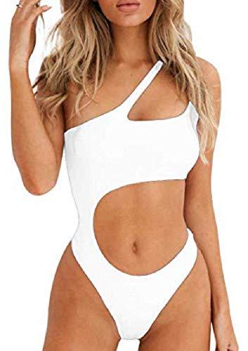 Lovelegis Costume Intero Donna - Monospalla - Sexy - da Bagno - Mare - Ragazza - Aperto sulla Pancia - Colore Bianco - Taglia L