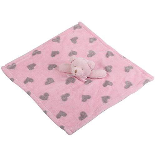 EEvER Ever Plüschtier Puppen Weicher Plüschbär Spielzeug Baby Handtuch Baby Schmusetuch Baumwolle Stern Muster Handtuch Pink+Grey