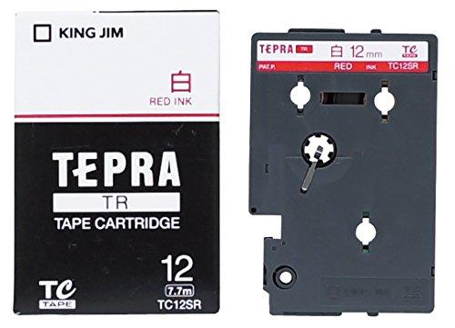 テプラ TR用テープカートリッジ 白ラベル TC12SR [赤文字 12mm×7.7m]