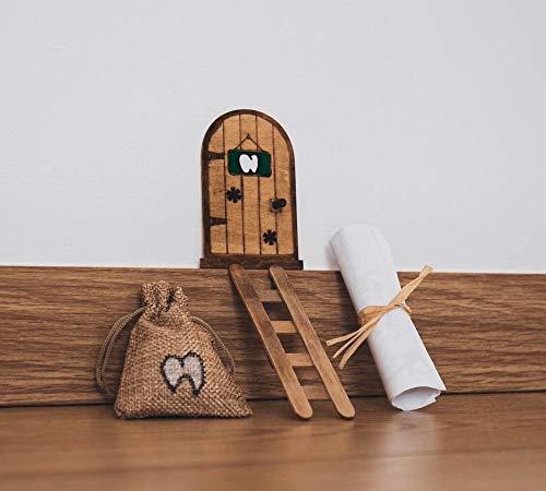 Puerta Ratoncito Pérez mágica con Carta, Escalera y Bolsita Para Diente de Leche. Regalo original niño niña Ratón Pérez. Hecho a mano en España