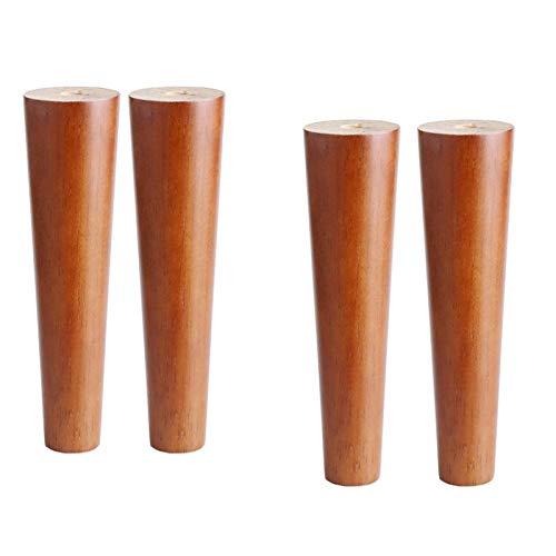 Patas de madera para muebles, patas de mesa de color nogal, patas de gabinetes, patas de sofá, patas de repuesto, pies de muebles, con placa de montaje y tornillos, para sofás, taburetes, banco de esc