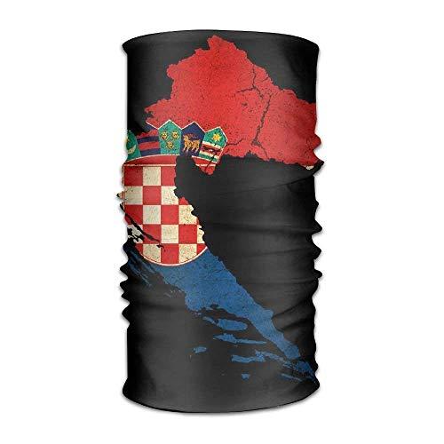 LisaArticles Kroatië Map Outline Vlag Snelle Droge Microvezel Hoofddeksels Outdoor Magic Bandana Neck Gaiter Hoofd Wikkel Hoofdband Sjaal Gezichtsmasker Ultra Zachte Elastische Handdoek