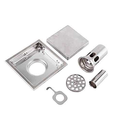 Unbekannt 304 Edelstahl 110 x 110 mm Badezimmer-Duschfliesen-Einsatz Quadratisches Duschboden-Abflusssieb